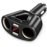 volt sigara toptan satış-Winsun 3.1A Çift USB Araç Şarj 2 Çakmak Soket ile 120 W Telefon Tablet için Güç Desteği Ekran Akım Volmeter GPS DVR