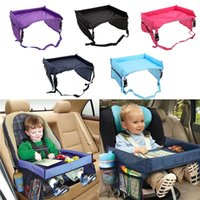 Wholesale travel trays car - Baby Toddlers Car Safety Belt 5 Color Travel Play Tray waterproof folding table Baby Car Seat Cover Harness Buggy Pushchair Snack BBA187