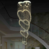 Wholesale heart ceiling light - Modern Luxury LED Crystal Ceiling Lights Heart Rain Drop Chandeliers k9 Crystal ball Ceiling Lamp Dia 19.7*H74.6inch
