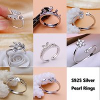 Wholesale sterling silver blank rings - Shiny!Pearl Ring Setting Zircon Solid Silver 925 Rings Setting Pearl Rings Mounting Ring Blank DIY Jewelry DIY Gift 8 Styles