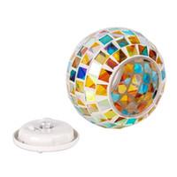 solar garten lampe ball großhandel-Solar Power LED Rasen Lampen Outdoor Mosaik Glas Ball Farbwechsel Licht Hof für Garten Dekoration Beleuchtung Lampen