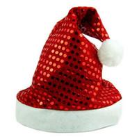 santa elbiseli kıyafetler toptan satış-LOS için 1 ADET Deluxe Pullu Santa Şapka Kıyafet Aksesuarı Noel Doğuş Fantezi Elbise Kırmızı Ve Beyaz Kap Noel Baba Kostüm ...