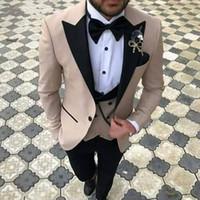 pluma 64 al por mayor-2018 Trajes de hombre de tres piezas Slim Fit Groom Tuxedos El mejor traje de boda de padrinos de boda Trajes de hombre (chaqueta + pent + chaleco)