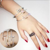 Wholesale unique steel gifts - Luxury Brand Unique Arm Cuff Bangle Classic Love Bracelet for Women Stainless Steel Crystal Charm Nail Bracelet Bangles Gift Jewelry