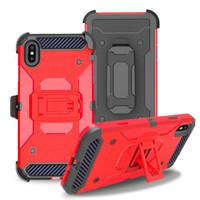 bolsa 2en1 al por mayor-Aicoo 2in1 Dual Layer Protection Hybrid TPU PC Tough Armor con funda Funda con clip para Iphone XS Samsung S10 Plus Coolpad Legacy Opp Bag