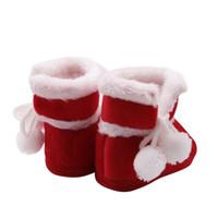 botas de inverno neve bebê menina vermelha venda por atacado-Kacakid 2018 Outono Inverno Do Bebê Da Menina do Menino Macio Botas Quentes Não-slip Botas de Neve Sapatos Quentes Bonito Borda Vermelha Sapatos de Lã S2