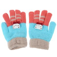 Wholesale blue knit gloves for sale - Group buy Winter Warm Baby Gloves Children Knitted Stretch Mittens Kids Patchwork Elastic Warm Girls Full Finger Gloves for Boys Girls