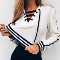 weiße spitze hoodie großhandel-NEUE Damen Womens Girls Plain Schwarz / Weiß Gestreifte Hoodie Bluse Sweatshirt Mit Kapuze Lace Up Coat Tops
