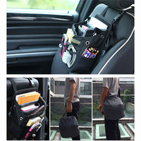 Wholesale front pocket - Auto Car Front Back Seat Pockets Organizer Driver Handbag Shoulder Bag With Waterproof Cover Car Styling Black