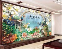 Wholesale peacock wall paint for sale - Group buy 3d wallpaper custom photo mural Chinese Peacock Peony painting living room Home decoration d wall murals wallpaper for walls d