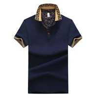 camisetas masculinas al por mayor-Camisa de ventas caliente de diseño de lujo hombre verano Turn-Down cuello manga corta camisa de algodón hombres Top