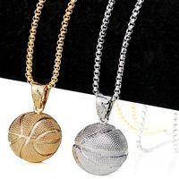 ingrosso ciondolo cestino-Fashion New Design 3D ciondolo pallacanestro collana I Love Basket sport fascino gioielli periferici per gli uomini regalo punk