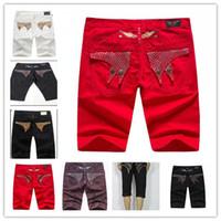 metal jadeante al por mayor-2017 Famous Brand Men Jeans Robin Short Jeans Pantalones Gold Metal Wing Robins Set auger Jeans para hombre diseñador para hombre pantalón