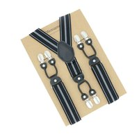 Wholesale vintage paper clips - Classic Fashion Suspenders Real Leather 6 clips Brace Striped Male Vintage Casual Trousers Strap Kraft paper Packed Wedding Wear