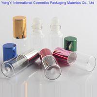 ingrosso vasi di vetro cosmetici viola-Bottiglie Roller 48pcs di vetro chiaro con rullo di sfere di vetro Profumi Balsami labbra Roll On Bottiglie 5ml 10ml