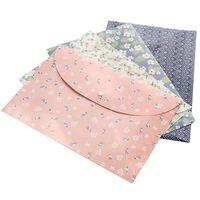файлы документов оптовых-4PCS Floral Bag For Documents Snap Button Envelope PP A4 Document Bags File Folder Book Student Organizer Stationery Filing Bag