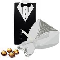 ingrosso scatole da sposa smoking-100Pcs decorazione Wedding mariage casamento Casi regalo nuziale sposo dallo smoking del vestito dell'abito di nastro favori di nozze caramella di zucchero Caso Box