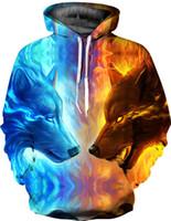 ingrosso giacche da baseball usa-Fashion Ghiaccio e fuoco Double Wolf 3D stampa digitale sottile Felpa con cappuccio Generale T-shirt Unisex peluche Primavera Felpe Giacche da baseball, USA Taglia