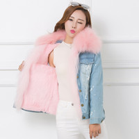 меховой пиджак оптовых-2017 Winter Fur Jean Jacket Women Real Big Raccoon fur Denim Jeans Jackets Women Pink Fur Lines Female Jacket Overcoat A668