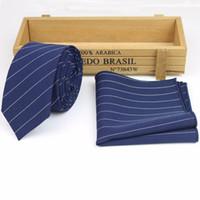 ingrosso set di cravatta-Mens Designer Skinny Striped Pocket Square Tie Fazzoletto Cravatta cravatta Lots Two Piece Set