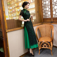 Wholesale slim dresses korea - Autumn new style slim Ao Dai dress lace cheongsam China Korea Japan Thailand ladies national Style Kimono Mandarin Collar Formal Qipao