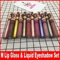 Wholesale lipstick vibe - Vibe Tribe Matte Liquid Lipstick & lip liner Liquid Eyeshadow Limited Edition Set Lipglass Kit 12 colors