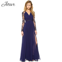Wholesale Hot Dresses For Ladies Sexy - Dresses For Women Sexy Lace Dress Female Patchwork Chiffon Dress Ladies Sexy V-Neck Hollow Out Split Party Dresses For Women Hot