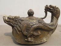 ingrosso scultura di piombo-Sculture cinesi mano doratura bronzo piombo bronzo bollitore bollitore statua teiera spedizione gratuita