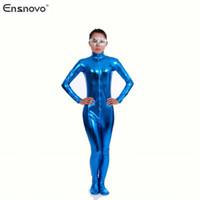 traje de cuerpo azul metálico al por mayor-Ensnovo Nylon Lycra Shiny Metallic Turtleneck Body Blue Unitard Mujeres Full Body Custom Traje de piel Cosplay Party Costume