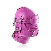 ingrosso muso della maschera di schiavitù-Colore rosa Bondage Hood BDSM maschera muso in pelle Gimp con occhio staccabile pene bocca gag testa cablaggio sexy accessorio del costume