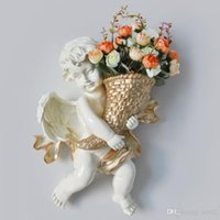 Wholesale wall flowerpot resale online - Arts Crafts Flower Vase Resin Cupid Angel Living Room Study Café Flowerpot Three Dimensional Background Wall Decor ml ii