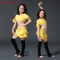 vestido de dança do ventre amarelo venda por atacado-2017New Chegada concorrência menina Dança Do Ventre Top + saia 2 pcs Sexy Dancer Prática Traje Vestido branco amarelo Frete Grátis