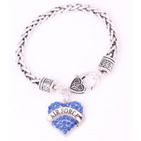 Wholesale wheat air forces resale online - Lovely Bracelet Rhodium Plated Studded With Sparkling Crystal AIR FORCE Heart Shape Jewelry Charm Wheat Bracelet