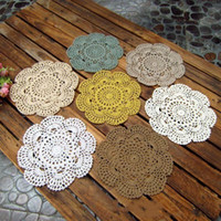 Wholesale hand made round mats resale online - Hand Made cm Cup Pad Multi Colors Cotton Lace Round Tableware Mat Crochet Weave Coasters Easy To Use jy dd