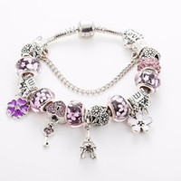 Wholesale bracelets eiffel resale online - Blue Red Pink Murano Glass Charms Beads Bracelet for Pandora Silver Plated Charm Eiffel Tower Pendant Bracelet Bangle