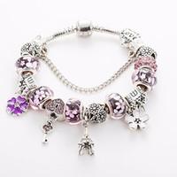 bracelets eiffel achat en gros de-Bracelet perles bleu / rouge / rose en verre de Murano pour Pandora plaqué argent charme pendentif tour Eiffel Bracelet 925