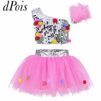 trajes de dança moderna venda por atacado-DPOIS Rosa Crianças Dance Stage Performance Traje Meninas Modern Jazz Crianças Desgaste De Dança De Lantejoulas Salsa Trajes Contemporâneos