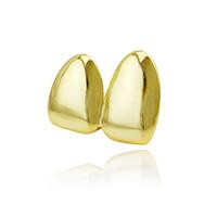 serin sıcak mücevher toptan satış-Fabrika Alt Fiyat 2 adet Diş Takı Gerçek Altın Kaplama Diş Grillz Hip-Hop Serin Erkekler Sahte Diş Grillz ABD Sıcak Satış Cadılar Bayramı Hediye
