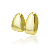Wholesale Fake Teeth - Factory Bottom Price 2 pcs Teeth Jewelry Real Gold Plated Teeth Grillz Hip-hop Cool Men Fake Tooth Grillz USA Hot Sale Halloween Gift