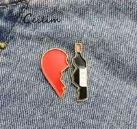 булавки для бутылок оптовых-Сломанное сердце бутылки вина брошь милый металл красный черный эмаль броши булавки Fit джинсовая куртка сумка Pin знак ювелирные изделия подарки