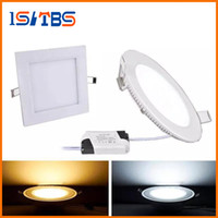 downlights regulables 3w al por mayor-luces del panel Regulable 3W 9W 12W 15W 18W 21W CREE Led Empotrables Downlights Lámpara cálida Natural Cool White Super-Thin Led Luces del Panel redondas