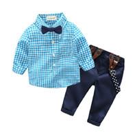 Wholesale Red Bow Tie Boys - Baby Boy Clothing Sets Shirt Suspend Trousers Bow Tie 3pcs Sets Autumn Spring Newborn Baby Sets Infant Clothing Gentleman Suit Plaid Suits