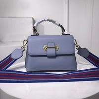sacs à main en cuir bleu ciel achat en gros de-Sacs à main de designer en cuir de marque de luxe Sky Blue célèbre designer femme sacs colorblock ruban épaule messenger bag pour les femmes de haute qualité