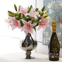 perfume de lirio al por mayor-3 unids pvc perfume lirio estilo fresco escritorio adornos de flores artificiales decoración