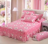 ingrosso rosa rosa regina completa-Fiori rosa in cotone con due letti singoli queen size Letto Gonna Copriletto Copri gonna Gonna 120x200cm 150x200cm Biancheria da letto 180x200cm
