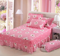Wholesale pink bedspreads queen size resale online - Pink flowers cotton twin full queen size Bed Skirt Bedspreads Bed Skirt cover x200cm x200cm x200cm bedding