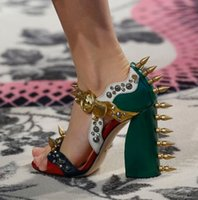 Wholesale Spikes Head - 2018 Fashion Week Runway Gladiator Sandals Woman Lion Head Spike Rivet Chunky High Heel Shoes Women Party Shoes