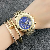 Wholesale wrist watches without calendars resale online - Brand Quartz wrist Watches for women Girl Dials style Metal steel band Calendar Watches M59