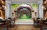 Wholesale 3d window art for wall online - Photo wallpaper custom d stereoscope rose window murals d wall murals art mural decor home Wallpaper