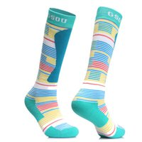 Wholesale professional warm sports socks skiing long socks printed for womens